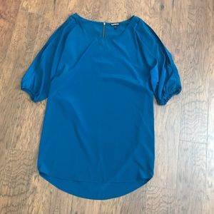 Express Teal Small Tunic Dress Exposed Sleeve